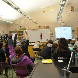 Ross Salawitch talks about climate change with Seventh and eighth grade students at the Montgomery School in Chester Springs, Pennsylvania.
